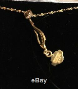 10K Harley Davidson Necklace Flame Fish Hook Bar Shield Black Hills Gold chain