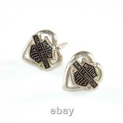 10K White Gold Harley Davidson Stamper Heart Bar Shield Post Earrings LHE3