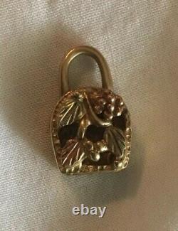 10k Solid Black Hills Gold Heavy Lock Bar & Shield HARLEY DAVIDSON PENDANT CHARM