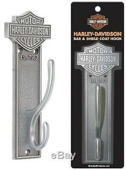 (6) ea Harley Davidson HDL-10137 Antique Pewter Bar & Shield Metal Coat Hooks