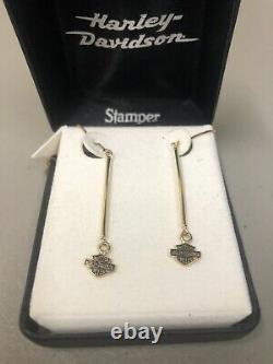 #676 NEW Stamper Harley-Davidson bar and shield 10K gold earrings