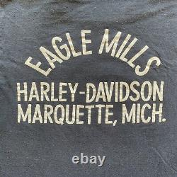 70s HARLEY DAVIDSON CLASSIC SHIELD LOGO T-SHIRT SZ XS S CHAMPION BLUE BAR TAG
