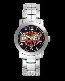 BRAND NEW Bulova Men's Harley-Davidson Bar & Shield Wrist Silver Watch 76A019
