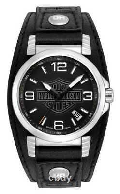 BRAND NEW Bulova Men's Harley-Davidson Ghost Bar Shield Leather Watch 76B163