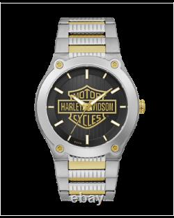 BRAND NEW Bulova Men's Harley-Davidson Gold Bar & Shield Two Tone Watch 78A126