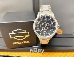 Bulova Mens Harley-Davidson Open Bar & Shield Silver Watch 76B182