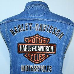 GORGEOUS HARLEY-DAVIDSON SLEEVELESS DENIM VEST JACKET Bar&Shield 99041-08VM Sz L