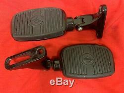 Genuine Harley Touring Black Bar Shield Passenger Mini Footboards Short Mounts
