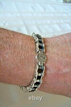 HARLEY DAVIDSON BAR & SHIELD Chain Link MOD 925 Sterling Silver Bracelet 9. WOW