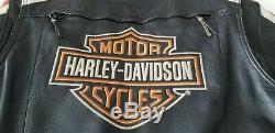 HARLEY DAVIDSON Mens Bar & Shield Embroidered Leather Jacket Orange LARGE