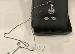 HARLEY DAVIDSON Sterling Silver Crystal Bar & Shield Necklace & Earrings in Box