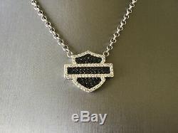 HARLEY DAVIDSON Sterling Silver Crystal Stamper Bar & Shield Emblem Necklace