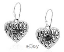 HDE0423 Harley-Davidson Women's Flames Bar & Shield Heart Dangle Earrings