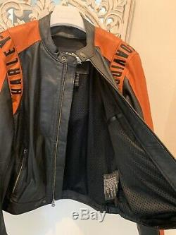 Harley Black & Orange Perforated Leather Jacket Bar & Shield XL Very Good Cond