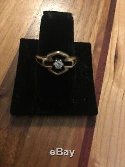 Harley Davidson 10K Yellow Gold Diamond Ring Bar & Shield Band 3.2g Size 7