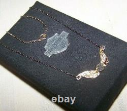 Harley Davidson 10k Yellow Gold Stamper Bar & Shield Wings Necklace Boxed