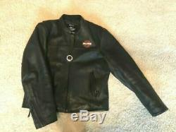 Harley Davidson Bar And Shield Men's Leather Riding Gear Jacket Size Large/xl