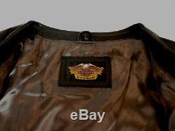 Harley Davidson Bar & Shield Black Leather Vest Mens Large Lg Very Nice 121