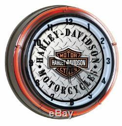Harley-Davidson Bar & Shield DIAMAND PLATE Wanduhr 220V HDL-16611B
