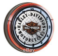Harley Davidson Bar & Shield Diamond Plate Neon Clock