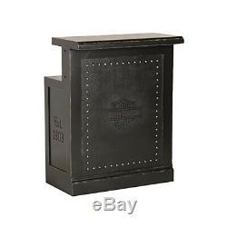 Harley Davidson Bar & Shield Flames Bar, Back Bar, Return & Stools-Black
