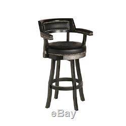 Harley Davidson Bar & Shield Flames Pub Table with Backrest Bar Stools Black