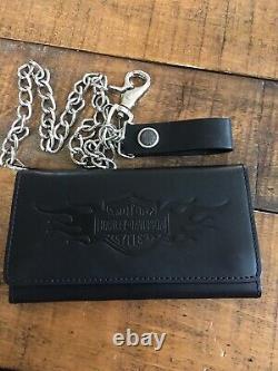 Harley Davidson Bar Shield Flamming Large Tifold Black Leather Wallet Chain