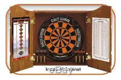 Harley-Davidson Bar & Shield Logo Dart Board Cabinet Pine Wooden Cabinet 61905