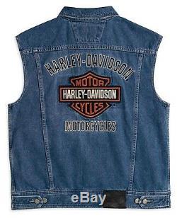 Harley-Davidson Bar & Shield Logo Denim Vest Gr. 3XL Herren Jeans Weste, blau