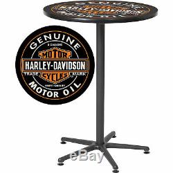 Harley-Davidson Bar & Shield Oil Can Tall Round Cafe Bistro Pub Table 41in. H