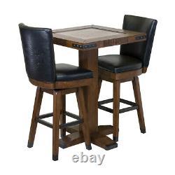 Harley-Davidson Bar & Shield Square Pub Table & 2 Square Stools Rawhide Brown