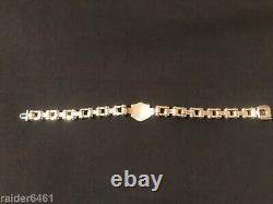Harley Davidson Bar & Shield Sterling Silver Chain Link Biker Bracelet 48 gr EUC
