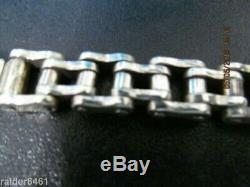 Harley Davidson Bar & Shield Sterling Silver Chain Link Biker Bracelet 59 gr EUC