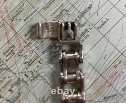 Harley Davidson Bar & Two Shields Sterling Silver Chain Link Biker Bracelet