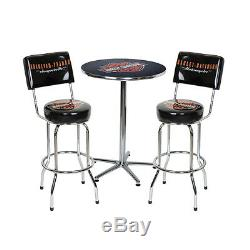 Harley Davidson Bar and Shield Cafe Table and Backrest Bar Stools
