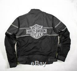 Harley-Davidson Black Gray Mesh Motorcycle Riding Jacket Bar Shield Biker L