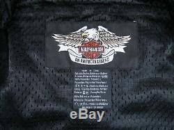 Harley-Davidson Black Gray Mesh Motorcycle Riding Jacket Bar Shield Biker XL