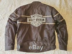 Harley-Davidson Black Gray Mesh Riding Jacket Bar Shield REMOVABLE LINER Large