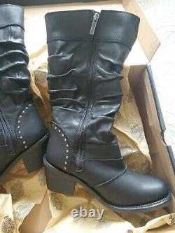 Harley Davidson Black Leather Boots Jana D83562 Zip bar shield Sz 8 New in Box