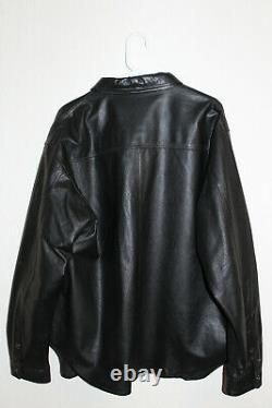 Harley-Davidson Black Leather Shirt Jacket Bar Shield Snap Mens XL