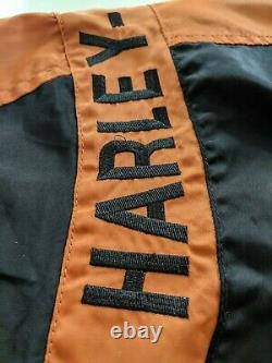 Harley Davidson Black Orange Bar & Shield Nylon Racing Jacket Size XL 97068-00V