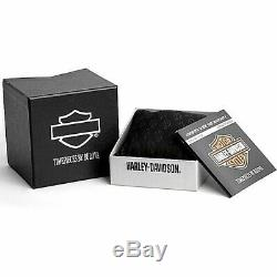 Harley Davidson Bulova 78B157 Green Camo Bar & Shield Men's Watch Box & Papers