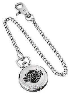 Harley-Davidson Bulova Bar & Shield Herren Taschenuhr 76A165 Silber, Uhr