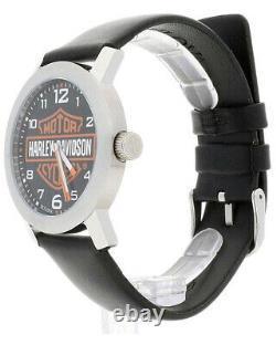 Harley-Davidson Bulova Men's Bar & Shield Black Leather Strap Watch 76A04