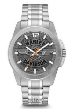 Harley-Davidson Bulova Mens Winged Bar & Shield Stainless Steel Watch 76A157