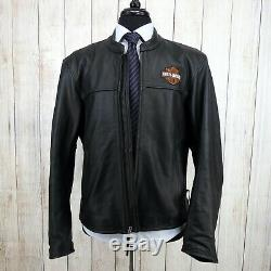 Harley Davidson Cafè Racer Bar & Shield Black Leather Biker Motorcycle Jacket L