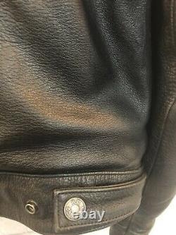 Harley Davidson Defender Embossed Bar Shield Black Leather 97006-02VM Jacket L