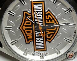 Harley Davidson Diamond Plate Bar & Shield Watch Stainless Steel Bulova