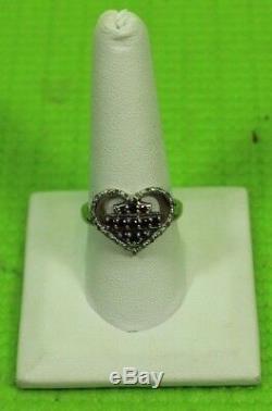 Harley-Davidson HMR0010.925 Silver Bar/Shield Heart Diamonds/Garnet Ring Size 9