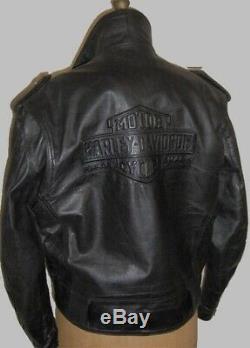 Harley Davidson LG VTG BOISE Leather Jacket Embossed Bar & Shield 98125-96VM USA
